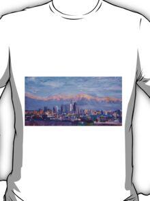 Los Angeles Skyline with Sierra Nevada at Dusk T-Shirt