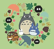Green Totoro Wreath - My Neighbor Totoro by CanisPicta