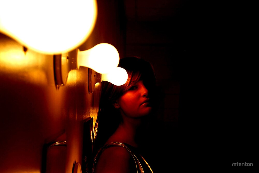 Girl's Face by Light Bulb by mfenton