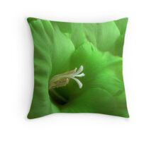 Green Gladiola Throw Pillow
