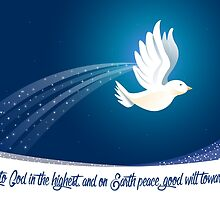 Peace Dove Christmas Card - Scripture by Sol Noir Studios