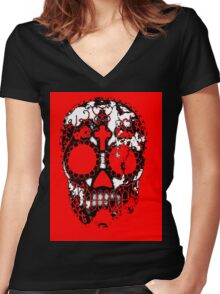 Day of the Dead Sugar Skull Grunge Design Women's Fitted V-Neck T-Shirt