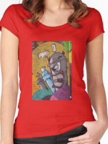 Angry cartoon street art guy, Cork Women's Fitted Scoop T-Shirt