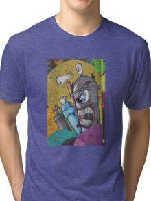 Angry cartoon street art guy, Cork Tri-blend T-Shirt