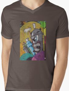 Angry cartoon street art guy, Cork Mens V-Neck T-Shirt