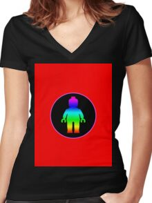 MINIFIG RAINBOW Women's Fitted V-Neck T-Shirt