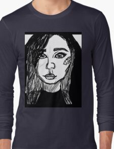 Girl Black and White Drawing Long Sleeve T-Shirt