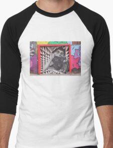 Mask checkerboard street art Cork Men's Baseball ¾ T-Shirt