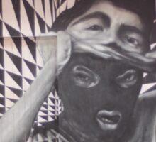Mask checkerboard street art Cork Sticker