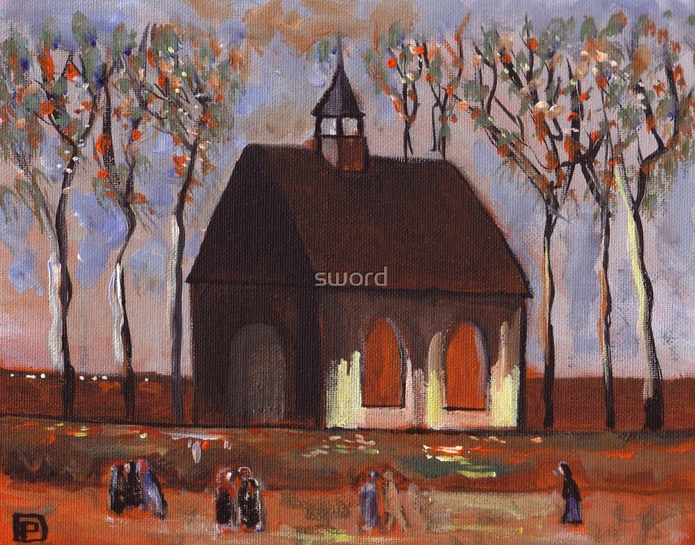 The churchgoers (from my original acrylic painting) by sword