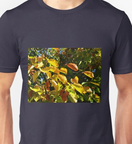 Sunlit Leaves of Russet and Green Unisex T-Shirt