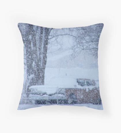 1959 Ford Fairlane on a snowy day... Throw Pillow