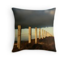 Fence under Stormy Skies Throw Pillow