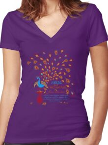 Paisley Peacock Pride and Prejudice: Fall Modern Women's Fitted V-Neck T-Shirt