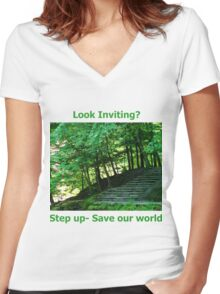 Step up... Women's Fitted V-Neck T-Shirt