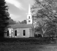 Chapel_Sturbridge Village in black and white by MrsBuden