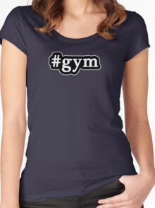 Gym - Hashtag - Black & White Women's Fitted Scoop T-Shirt