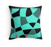 Aquamarine and black abstract blocks Throw Pillow