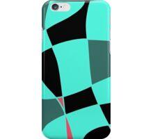Aquamarine and black abstract blocks iPhone Case/Skin