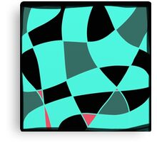 Aquamarine and black abstract blocks Canvas Print