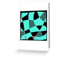 Aquamarine and black abstract blocks Greeting Card