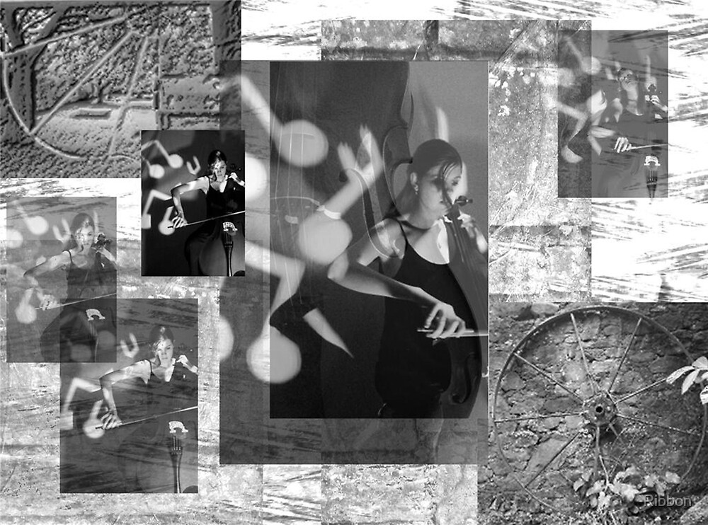 The Cello Player Music Collage by Ribbon