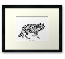 """Wolf Spirit"" - surreal tribal totem animal Framed Print"