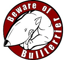 Beware of the Bull Terrier! Photographic Print