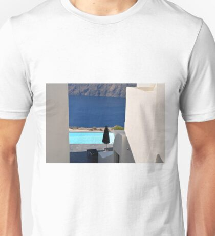 Swimming pool near the sea in Santorini, Greece Unisex T-Shirt