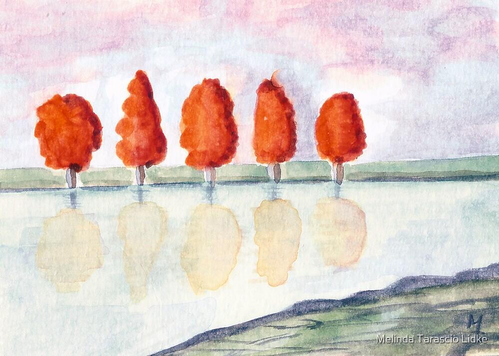 Five Reflecting Watercolor 460 by Melinda Tarascio Lidke