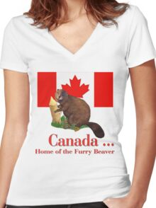 Furry Canada Women's Fitted V-Neck T-Shirt