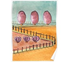 Double Three's in the Park Watercolor 476 Poster