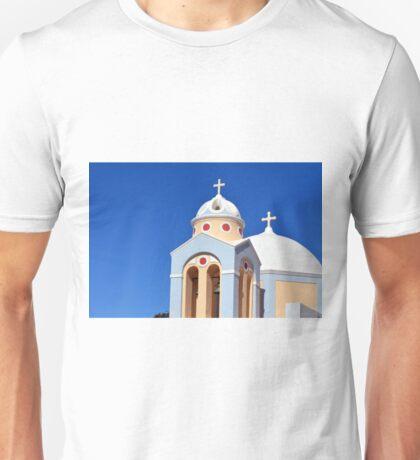 Small colorful church in Santorini, Greece Unisex T-Shirt