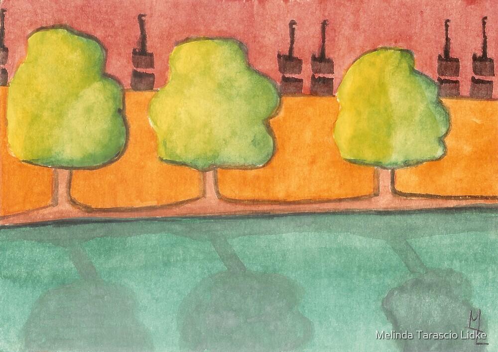 Triple Trees Reflecting Watercolor 477 by Melinda Tarascio Lidke