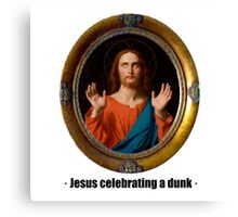 Jesus celebrating a dunk Canvas Print