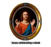 Jesus celebrating a dunk Photographic Print