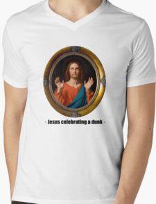 Jesus celebrating a dunk Mens V-Neck T-Shirt