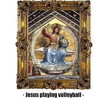 Jesus playing volleyball by ayay