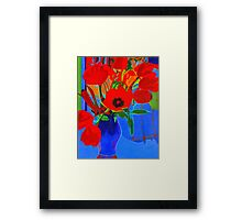 Red on Blue Background Framed Print