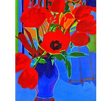 Red on Blue Background Photographic Print