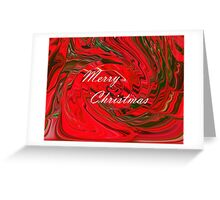 Merry Christmas Holiday Greeting Red and Green Swirl Abstract Design Greeting Card