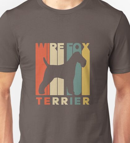 Vintage-Style-Wire-Fox-Terrier-Silhouette-Dog-Owner Unisex T-Shirt