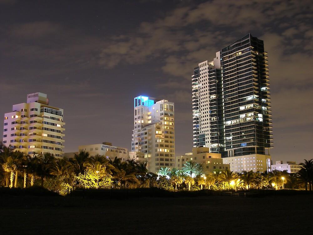 South beach Florida at night by mbuban