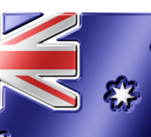 Australia - Australian Flag & Text - Metallic Sticker