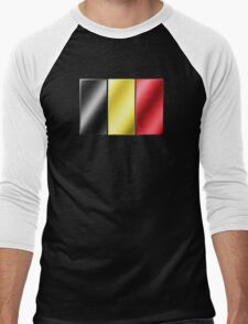 Belgian Flag - Belgium - Metallic Men's Baseball ¾ T-Shirt