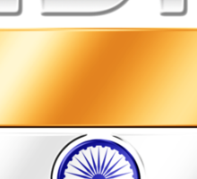 India - Indian Flag & Text - Metallic Sticker