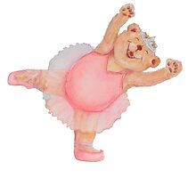 Pink ballerina ballet bear (no background) by Monica Batiste