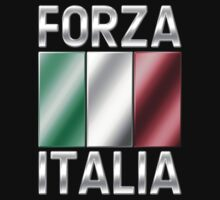 Forza Italia - Italian Flag & Text - Metallic Kids Clothes