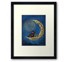 Moon Travel (Blue) Framed Print