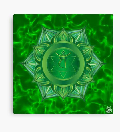 Heart Chakra with green flare BG Canvas Print